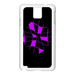 Purple Abstract Flower Samsung Galaxy Note 3 N9005 Case (white) by Valentinaart