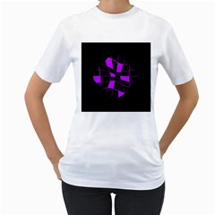 Purple Abstract Flower Women s T Shirt (white)  by Valentinaart