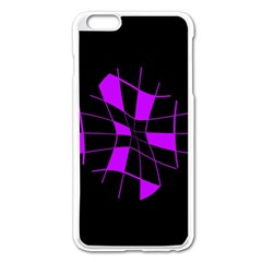 Purple Abstract Flower Apple Iphone 6 Plus/6s Plus Enamel White Case by Valentinaart
