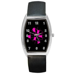 Pink Abstract Flower Barrel Style Metal Watch by Valentinaart