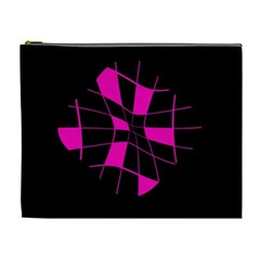 Pink Abstract Flower Cosmetic Bag (xl) by Valentinaart