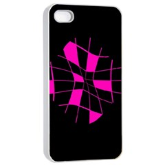 Pink Abstract Flower Apple Iphone 4/4s Seamless Case (white) by Valentinaart