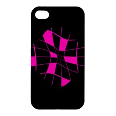 Pink Abstract Flower Apple Iphone 4/4s Premium Hardshell Case by Valentinaart