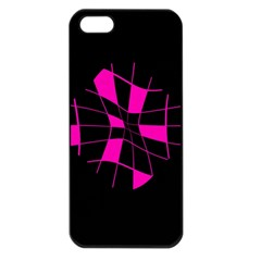 Pink Abstract Flower Apple Iphone 5 Seamless Case (black) by Valentinaart