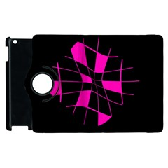 Pink Abstract Flower Apple Ipad 2 Flip 360 Case by Valentinaart