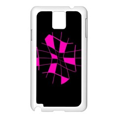 Pink Abstract Flower Samsung Galaxy Note 3 N9005 Case (white) by Valentinaart