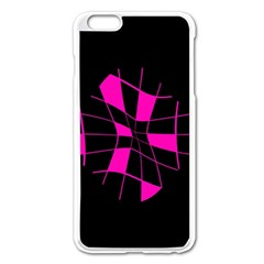 Pink Abstract Flower Apple Iphone 6 Plus/6s Plus Enamel White Case by Valentinaart