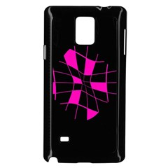 Pink Abstract Flower Samsung Galaxy Note 4 Case (black) by Valentinaart