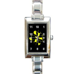 Yellow Abstract Flower Rectangle Italian Charm Watch by Valentinaart