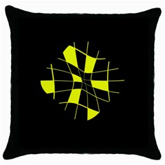 Yellow Abstract Flower Throw Pillow Case (black) by Valentinaart