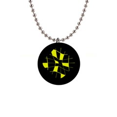 Yellow Abstract Flower Button Necklaces by Valentinaart