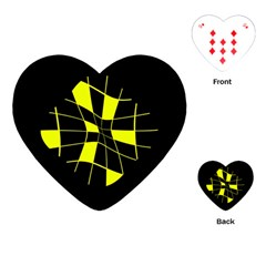 Yellow Abstract Flower Playing Cards (heart)  by Valentinaart