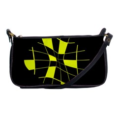 Yellow Abstract Flower Shoulder Clutch Bags by Valentinaart