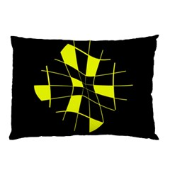 Yellow Abstract Flower Pillow Case (two Sides) by Valentinaart