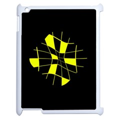 Yellow Abstract Flower Apple Ipad 2 Case (white) by Valentinaart