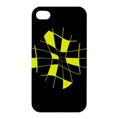 Yellow Abstract Flower Apple Iphone 4/4s Premium Hardshell Case by Valentinaart