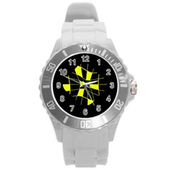 Yellow Abstract Flower Round Plastic Sport Watch (l)