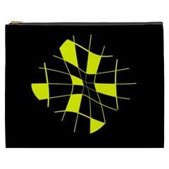 Yellow Abstract Flower Cosmetic Bag (xxxl)