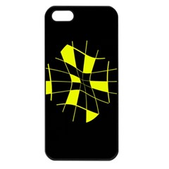 Yellow Abstract Flower Apple Iphone 5 Seamless Case (black) by Valentinaart