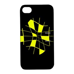 Yellow Abstract Flower Apple Iphone 4/4s Hardshell Case With Stand by Valentinaart