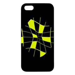Yellow Abstract Flower Apple Iphone 5 Premium Hardshell Case by Valentinaart