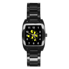 Yellow Abstract Flower Stainless Steel Barrel Watch