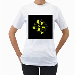 Yellow Abstract Flower Women s T Shirt (white)