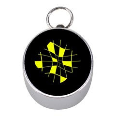 Yellow Abstract Flower Mini Silver Compasses