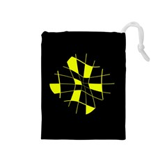 Yellow Abstract Flower Drawstring Pouches (medium)