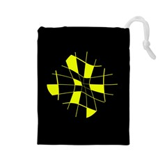 Yellow Abstract Flower Drawstring Pouches (large)