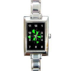 Green Abstract Flower Rectangle Italian Charm Watch by Valentinaart