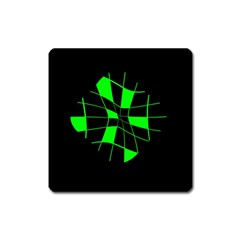Green Abstract Flower Square Magnet by Valentinaart