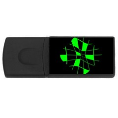 Green Abstract Flower Usb Flash Drive Rectangular (4 Gb)  by Valentinaart