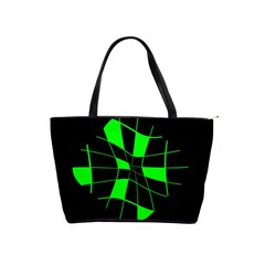Green Abstract Flower Shoulder Handbags by Valentinaart