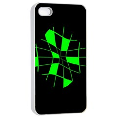 Green Abstract Flower Apple Iphone 4/4s Seamless Case (white) by Valentinaart