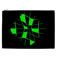Green Abstract Flower Cosmetic Bag (xxl)  by Valentinaart
