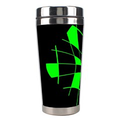 Green Abstract Flower Stainless Steel Travel Tumblers by Valentinaart
