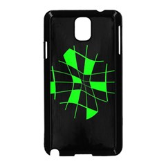 Green Abstract Flower Samsung Galaxy Note 3 Neo Hardshell Case (black) by Valentinaart