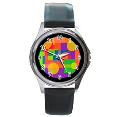 Colorful Circle  Round Metal Watch by Valentinaart