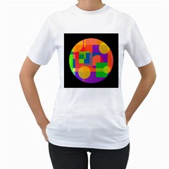 Colorful Circle  Women s T Shirt (white) (two Sided) by Valentinaart