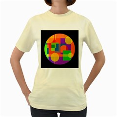 Colorful Circle  Women s Yellow T-shirt by Valentinaart