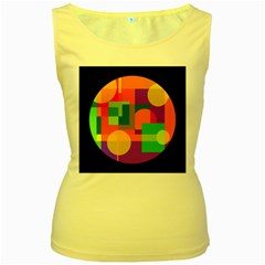 Colorful Circle  Women s Yellow Tank Top