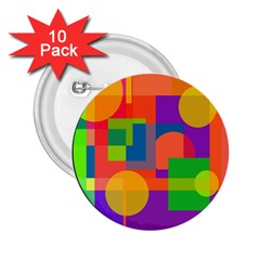 Colorful Circle  2 25  Buttons (10 Pack)