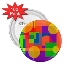 Colorful Circle  2 25  Buttons (100 Pack)