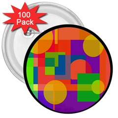 Colorful Circle  3  Buttons (100 Pack)  by Valentinaart