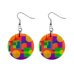 Colorful Circle  Mini Button Earrings