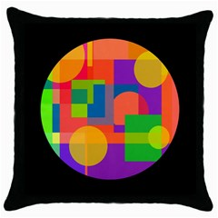 Colorful Circle  Throw Pillow Case (black)