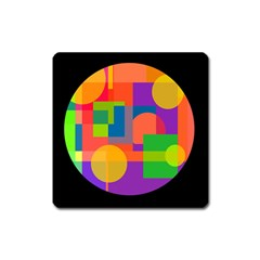 Colorful Circle  Square Magnet by Valentinaart