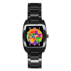 Colorful Circle  Stainless Steel Barrel Watch by Valentinaart