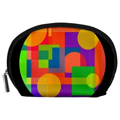 Colorful Circle  Accessory Pouches (large)  by Valentinaart